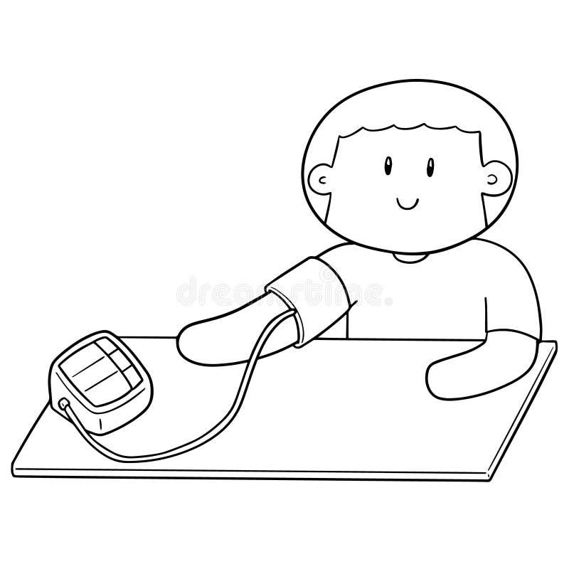 Vektor av mannen som använder blodtryckbildskärmen vektor illustrationer