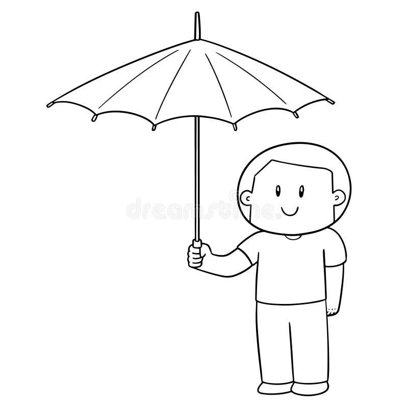 Vektor av mannen som använder paraplyet stock illustrationer