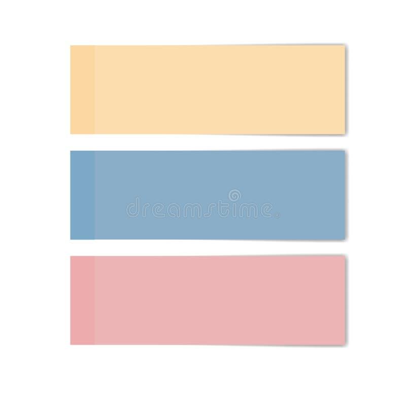 Vektor av mellanrum kvadrerade notepadsidor Färgrikt av anmärkningspapper vektor illustrationer