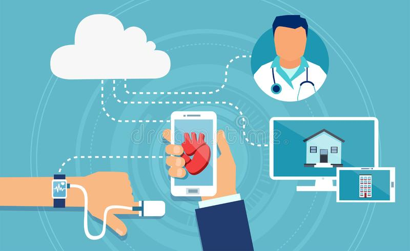 Vektor av moderna apparater för en hälsovård som spårar tålmodig hjärtahastighet royaltyfri illustrationer