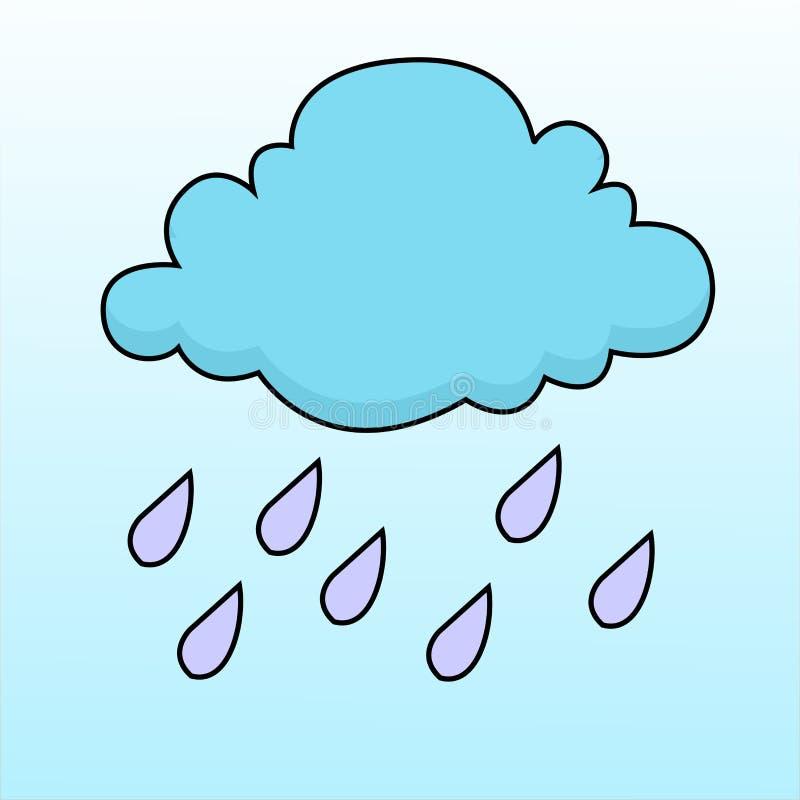 Vektor av moln och hällregn royaltyfri illustrationer