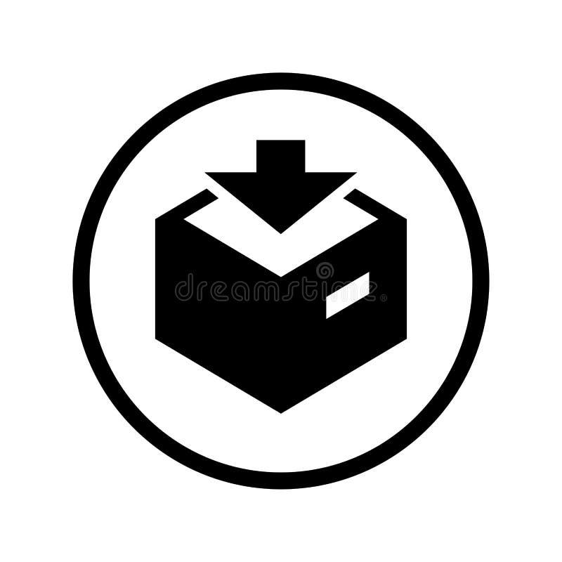 Vektor av nedladdningsymbolen i cirkellinje - iconic vektor royaltyfri illustrationer
