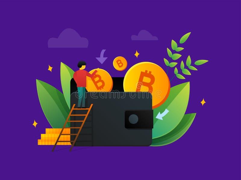 Vektor av personen och plånboken av bitcoins stock illustrationer