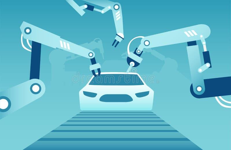Vektor av robotic armar som monterar en modern bil stock illustrationer