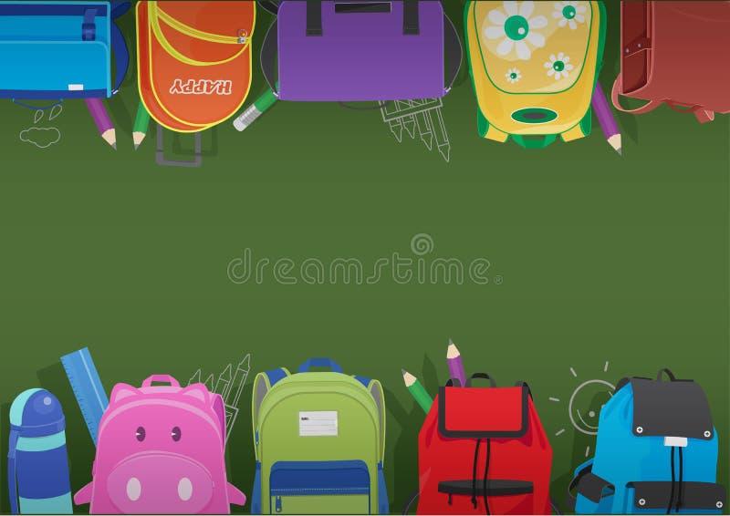 Vektor av skolväskaramen på den svart tavlan stock illustrationer