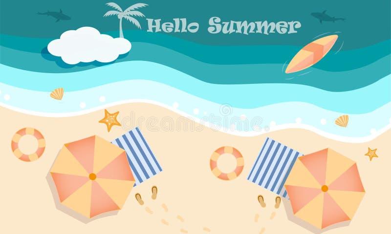 Vektor av strandaktivitetsbegreppet på den bästa sikten, Hello och den välkomna sommarsäsongen stock illustrationer