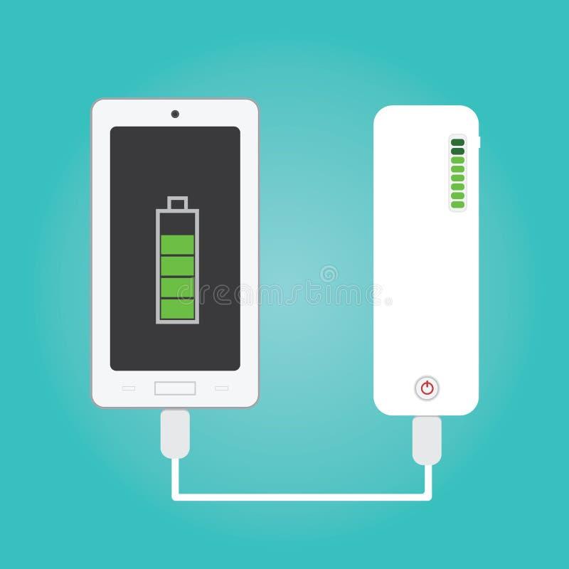 Vektor av telefonuppladdning och maktbanken royaltyfri illustrationer