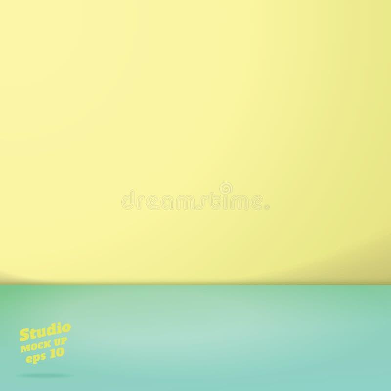 Vektor av tom ro för studio för färg för för pastellgräsplan- och guling två signal vektor illustrationer