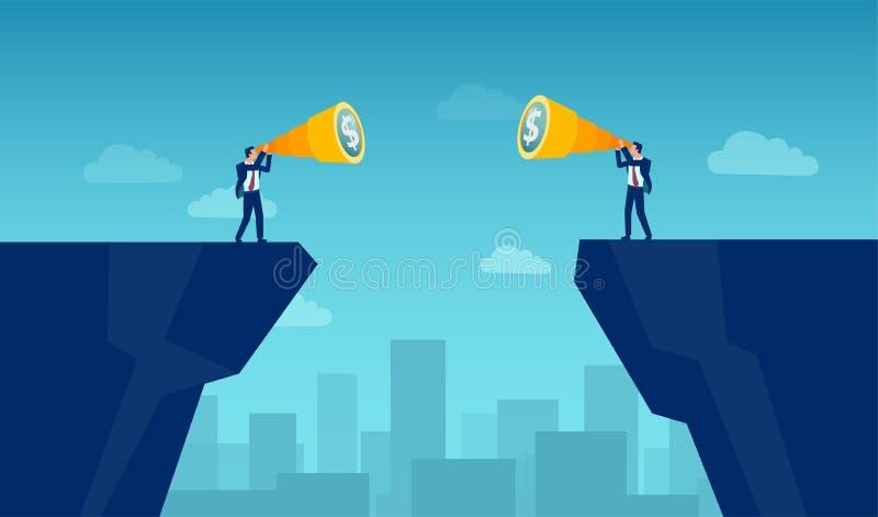 Vektor av två affärsmän som söker efter den finansiella tillfälleföretagssammanslagningen som delas av ett mellanrum stock illustrationer