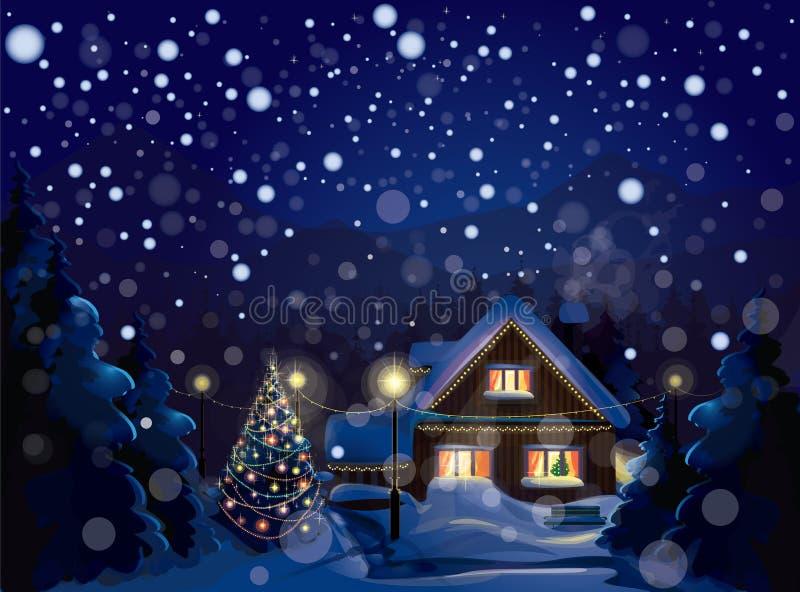 Vektor av vinterlandskapet. Glad jul! stock illustrationer