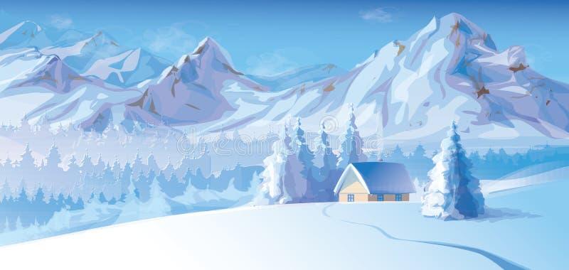 Vektor av vinterlandskapet med berg och skjulet royaltyfri illustrationer