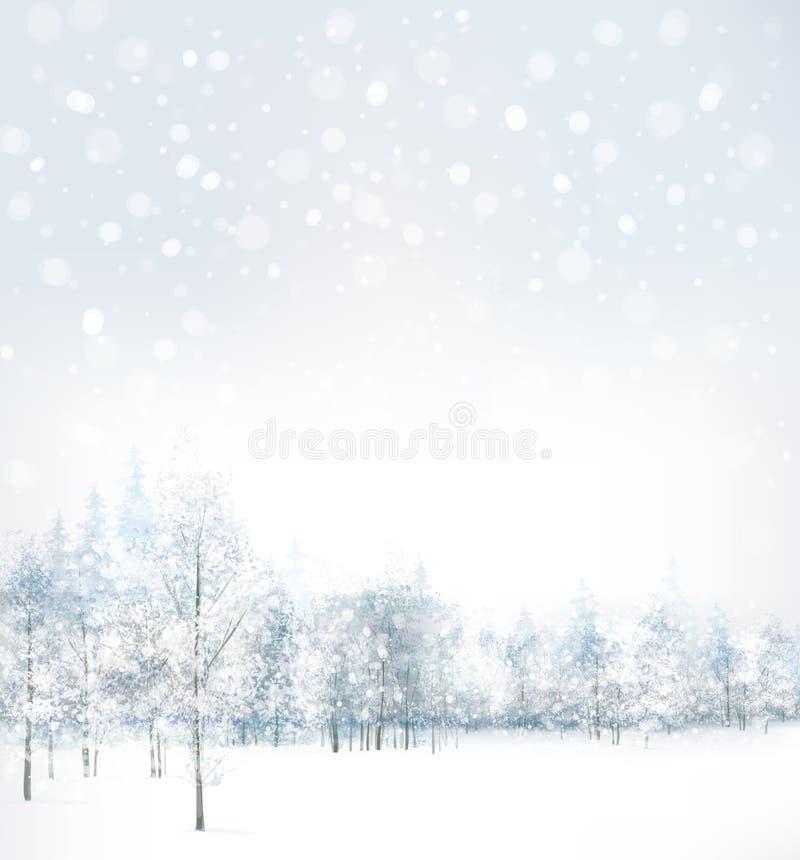 Vektor av vinterplatsen med skogbakgrund stock illustrationer