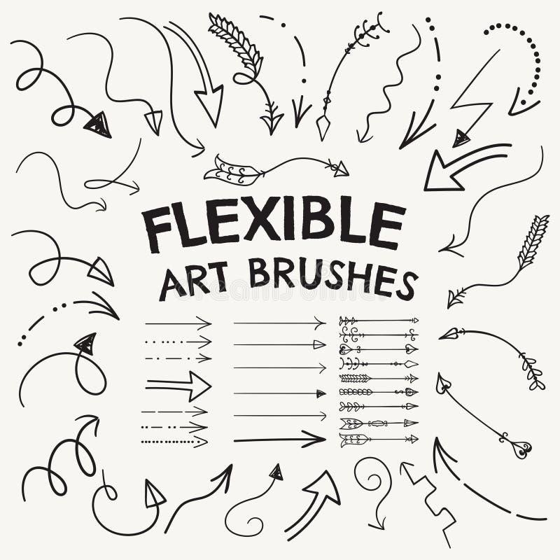 Vektor böjlig pil formade Art Brushes Collection vektor illustrationer