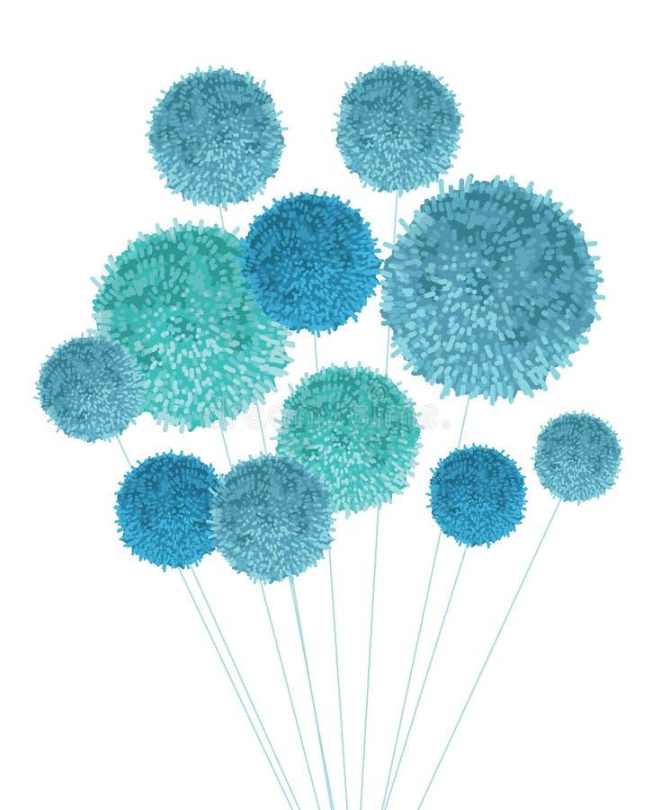 Vektor-Baby-Blau Pom Poms Bouquet Decorative Element Groß für Kindertagesstättenraum, handgemachte Karten, Einladungen, Baby lizenzfreie abbildung