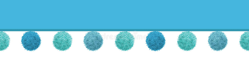 Vektor-Baby-blaues dekoratives Pom Poms Horizontal Seamless Repeat-Grenzmuster Groß für Kindertagesstättenraum, handgemacht stock abbildung