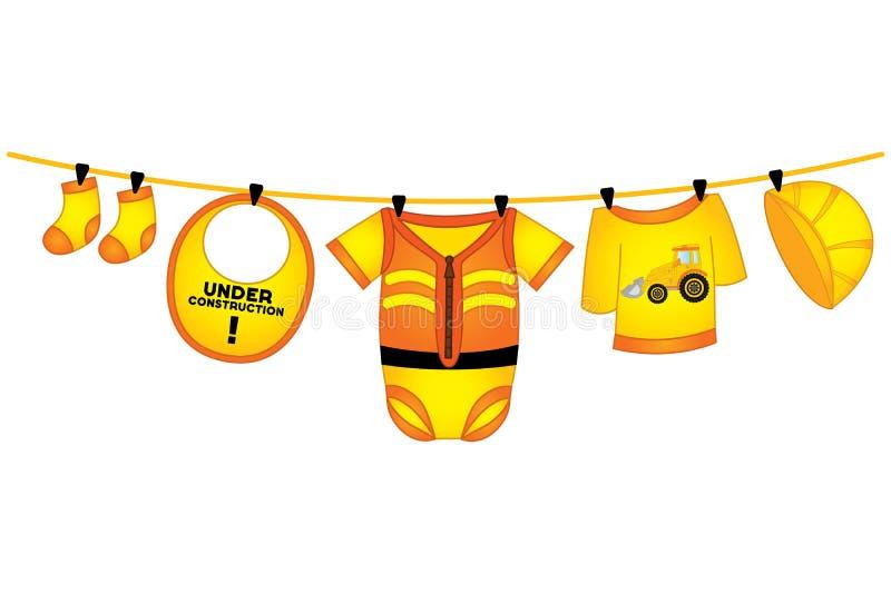 Vektor-Baby-Kleidung in der Bau-Art, die an der Linie hängt stock abbildung