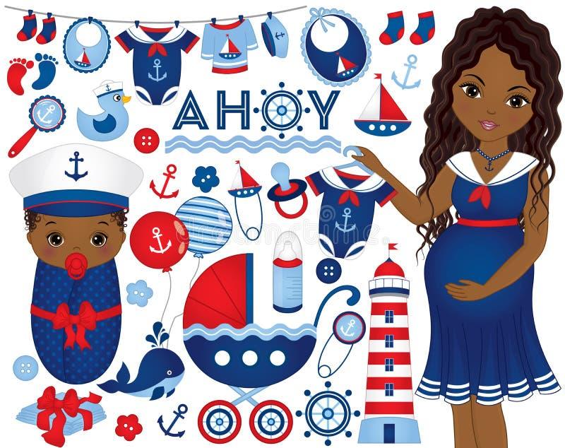 Vektor-Babyparty eingestellt mit schwangerer Frau und Baby in See lizenzfreie abbildung