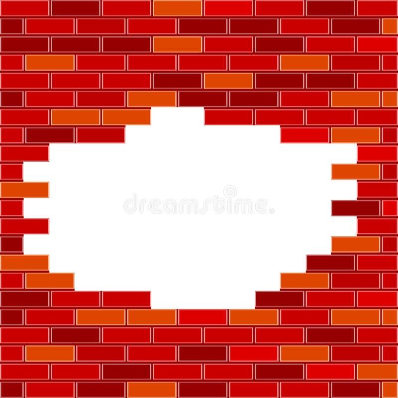 Vektor-Backsteinmauer mit Loch-und Beispieltext - Rot lizenzfreie abbildung