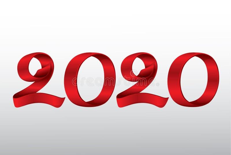 Vektor-Band-neues Jahr 2020 lizenzfreie abbildung