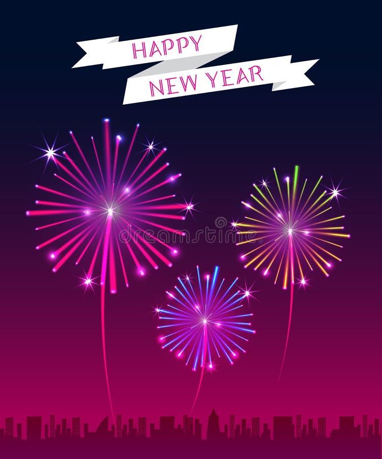 Vektor: Baner för lyckligt nytt år med fyrverkerit över staden vektor illustrationer