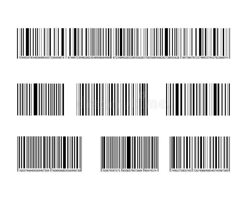 Vektor-Barcode-Sammlung, schwarze Linien und Zahlen, Kennzeichen eingestellt stock abbildung