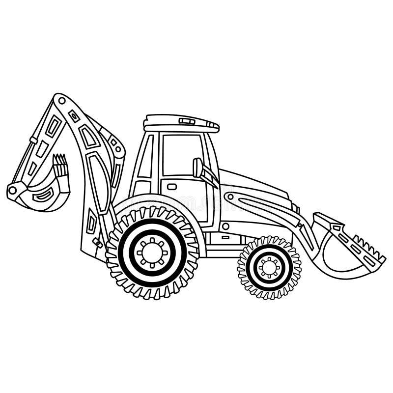 Vektor-Bau-Gräber Vektor-Bagger stock abbildung