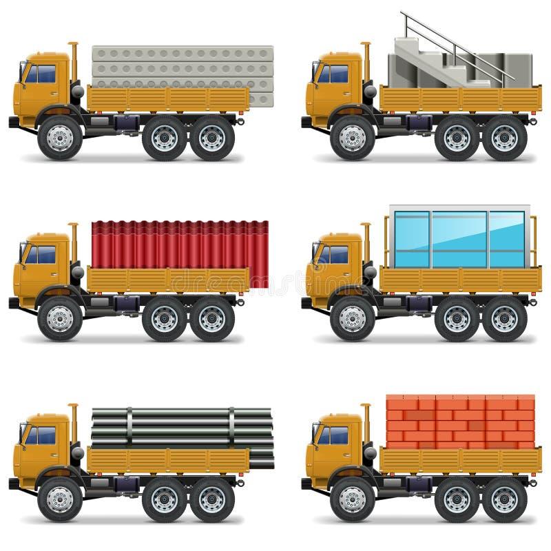 Vektor-Bau-LKWs lizenzfreie abbildung