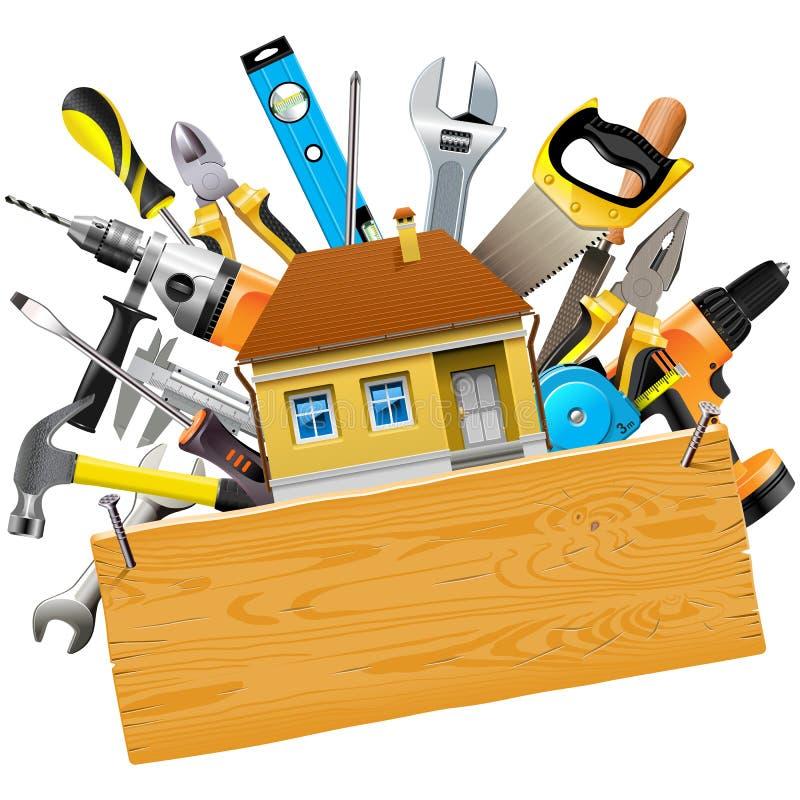 Vektor-Bau-Werkzeuge mit Haus stock abbildung
