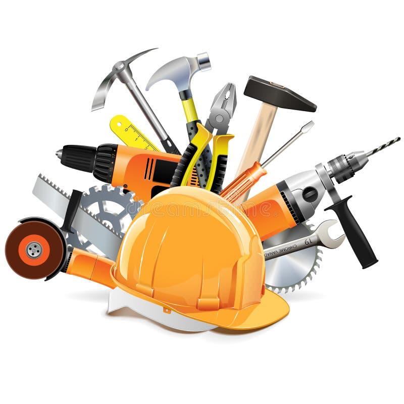 Vektor-Bau-Werkzeuge mit Sturzhelm lizenzfreie abbildung