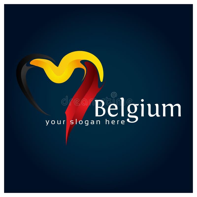 Vektor Belgien-Flagge Herzens auf Lager Vektorillustration auf blauem Steigungshintergrund lizenzfreie abbildung