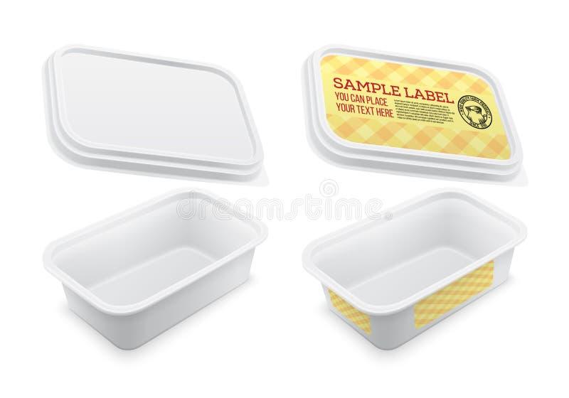 Vektor beschrifteter quadratischer Leercontainer Verpackungsschablone stock abbildung