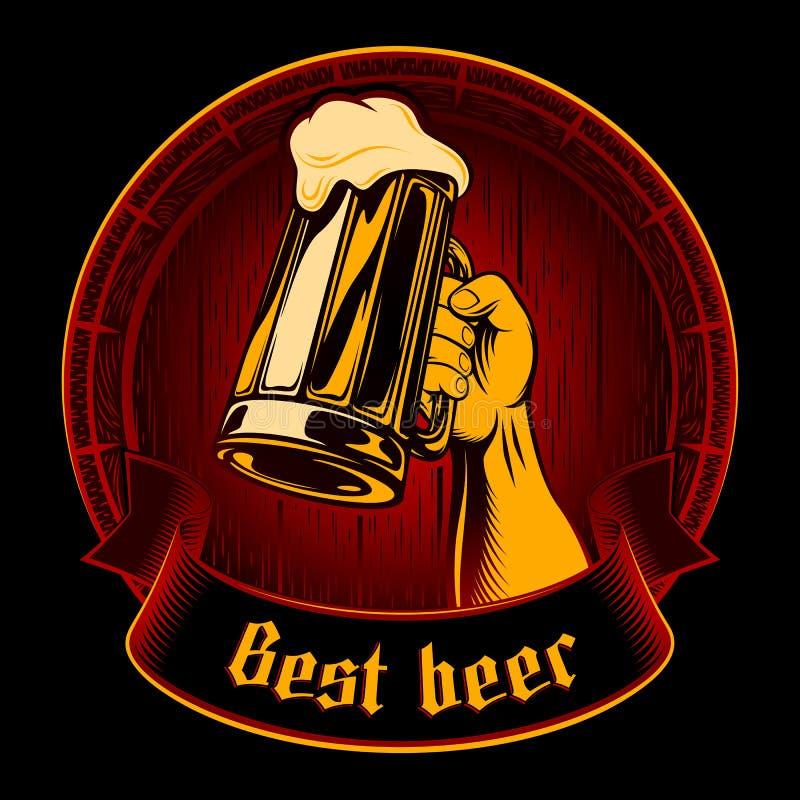 Vektor-bester Bier-Glas-Becher-Schaum-Fass-Weinlese-Hintergrund Enrgaving lizenzfreie abbildung