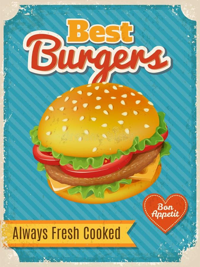 Vektor-bestes Burgerplakat oder -karte mit hoher ausführlicher Vektorburgerillustration lizenzfreie abbildung