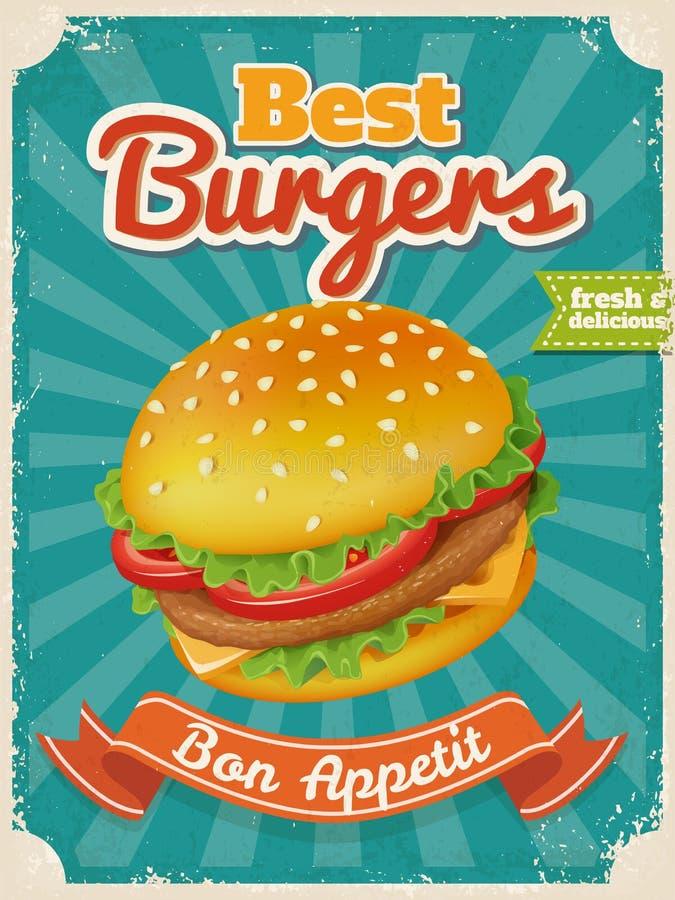 Vektor-bestes Burgerplakat oder -karte mit hoher ausf?hrlicher Vektorburgerillustration vektor abbildung