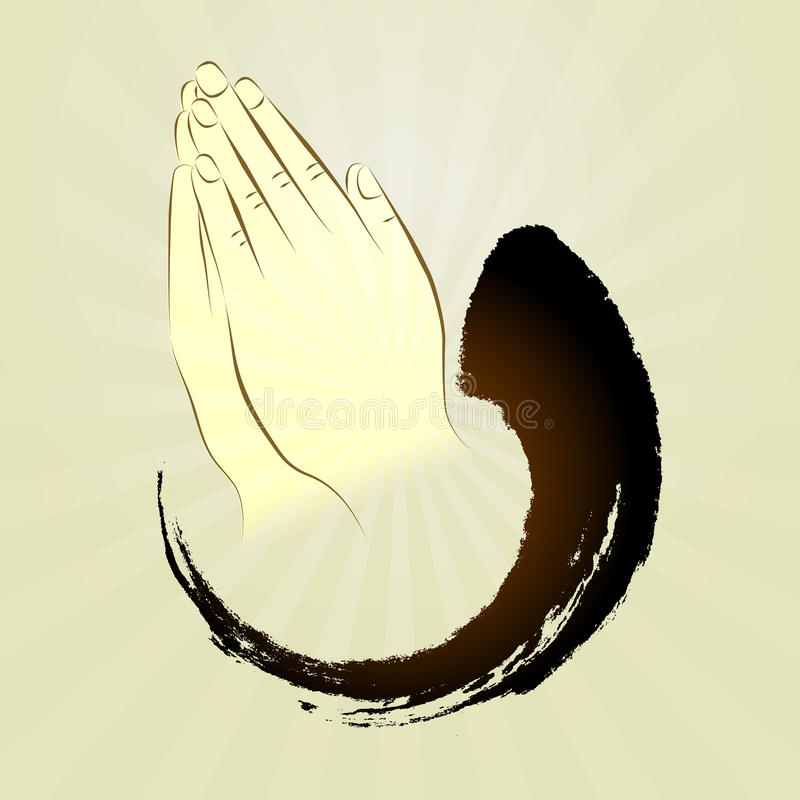 Vektor: Betende Hände, namaste, Zengeste lizenzfreie abbildung