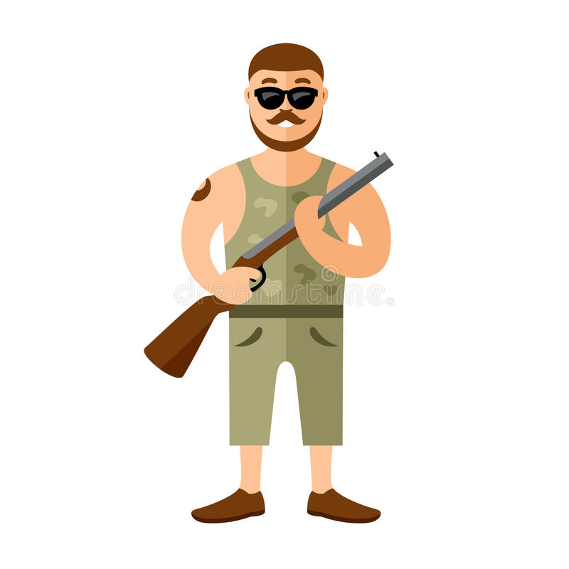 Vektor-bewaffneter Bandit mit Gewehr Flache Art bunte Karikaturillustration stock abbildung
