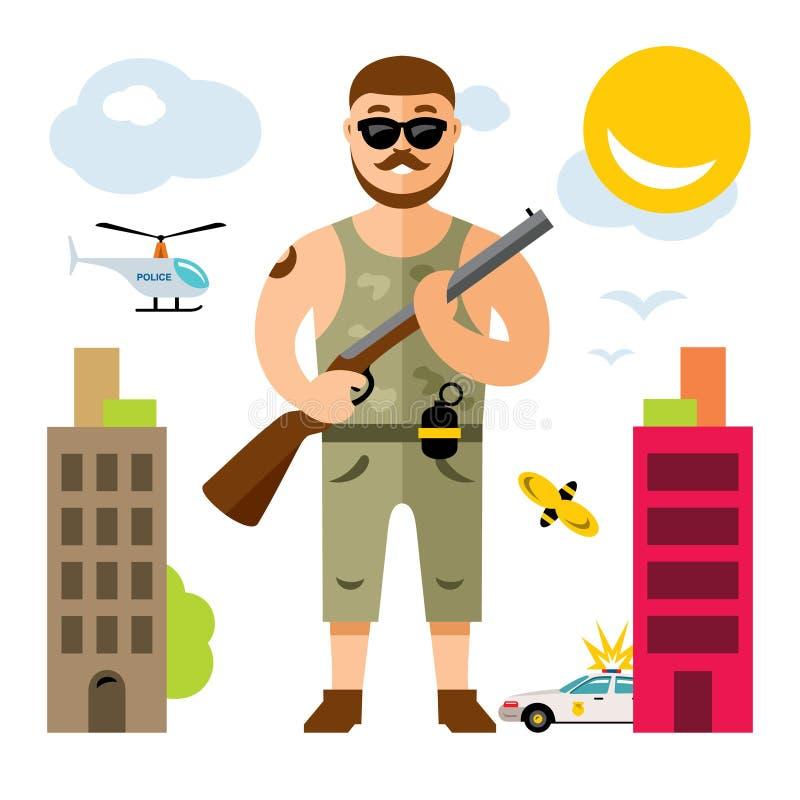 Vektor-bewaffneter Bandit mit Gewehr Flache Art bunte Karikaturillustration lizenzfreie abbildung