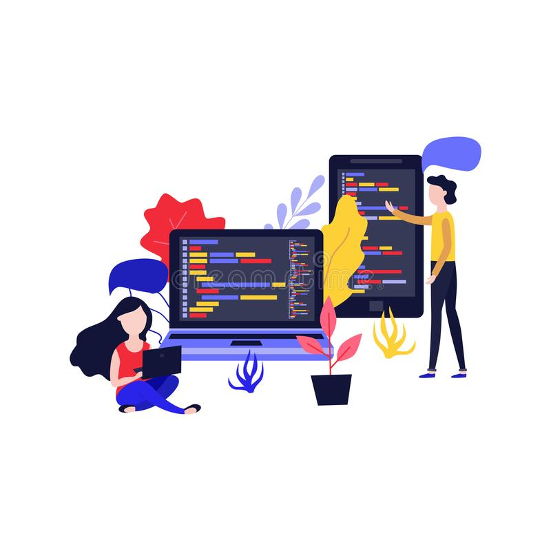 Vektor bewegliches Apps-Entwicklungsmädchen, Frauenlaptop lizenzfreie abbildung