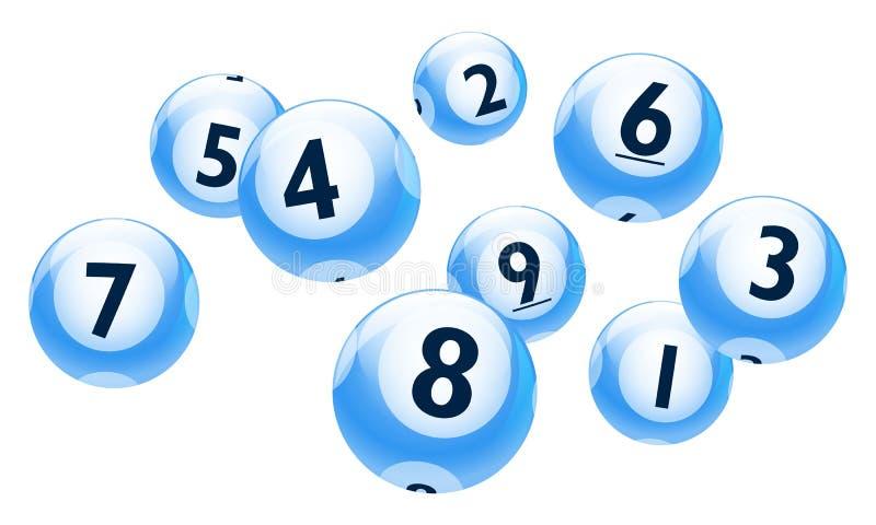 Vektor-Bingo-/Lotterie-Zahl-Bälle eingestellt stock abbildung