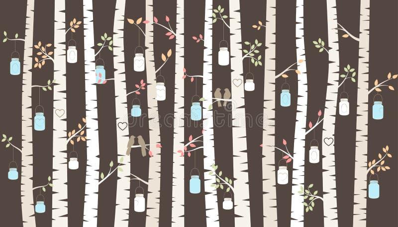 Vektor-Birke oder Aspen Trees mit dem Hängen von Mason Jars und von Wellensittichen stock abbildung