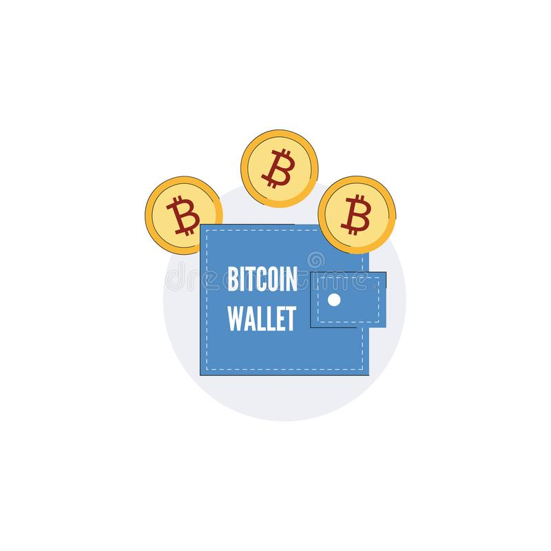 Vektor bitcoin Geldbörsenkonzeptgeldbeutel-Goldmünzeikone stock abbildung