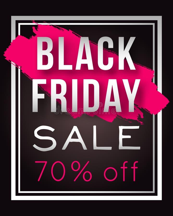 Vektor-Black Friday-Verkaufsplakat mit Rahmen- und Aquarellspritzen Schablone für die Werbung von Plakaten, Fahnen, Flieger, Bros stock abbildung