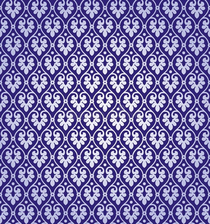 Vektor-Blatt-Damast-Hintergrund-Muster lizenzfreie abbildung