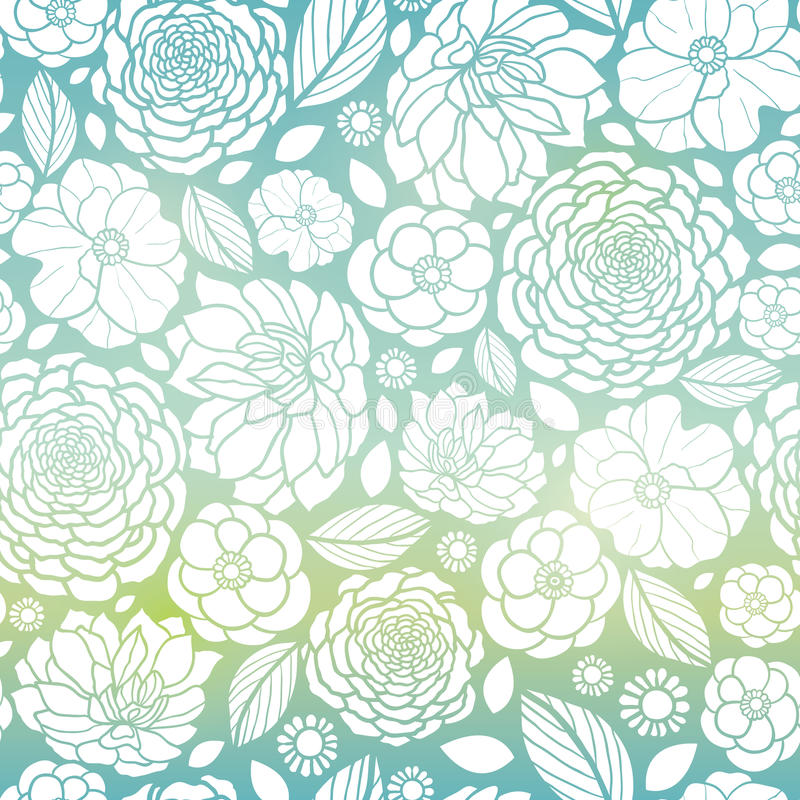 Vektor-blaue und weiße Mosaik-Steigungs-Blumen-nahtloses Wiederholungs-Muster-Hintergrund-Design Groß für elegante Hochzeit lizenzfreie abbildung