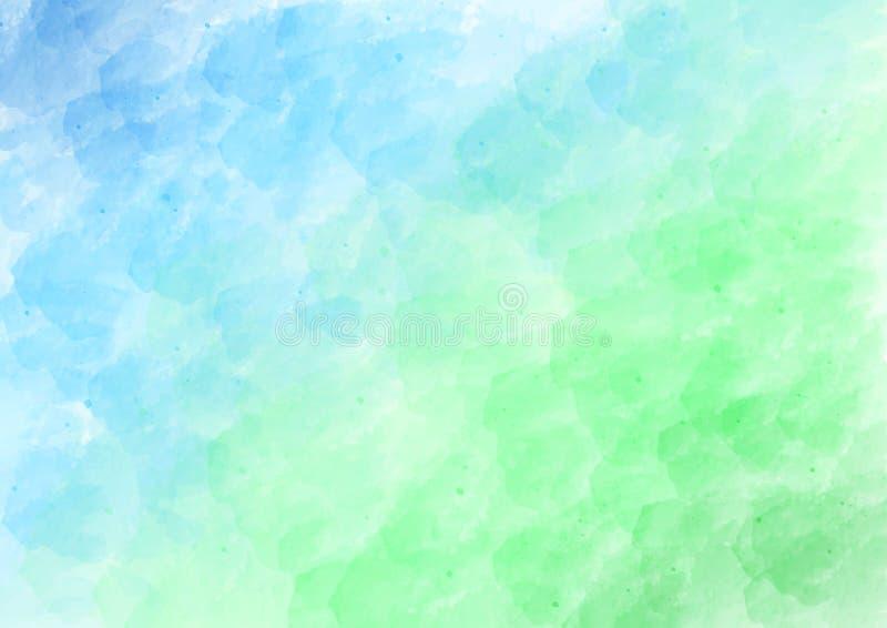 Vektor-blauer und grüner Aquarell-Muster-Hintergrund vektor abbildung