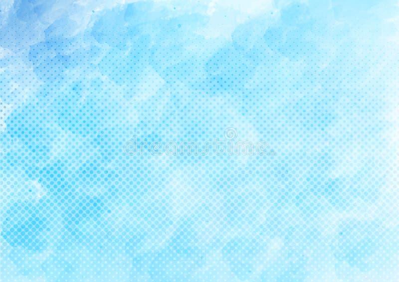 Vektor-blaues Aquarell und Halbton-Dots Pattern Background lizenzfreie abbildung