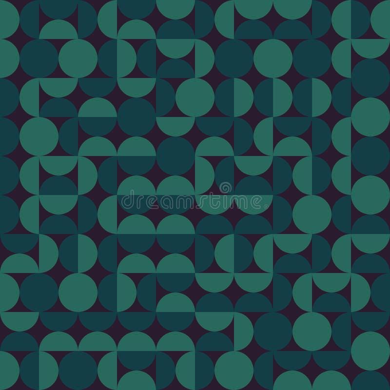 Vektor-blockiert nahtloser dunkelgrüner geometrischer halb Kreis Irregular Retro- Muster stock abbildung