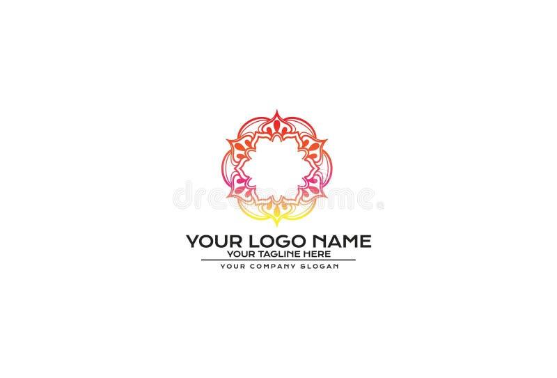 Vektor-Blume Mandala Logo Design stock abbildung