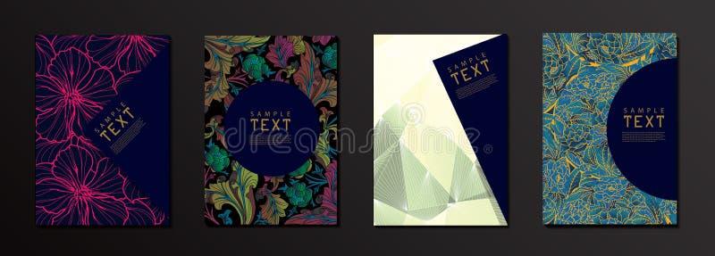 Vektor-Blume und geometrische Form-Abdeckungs-Design-Schablone lizenzfreie abbildung