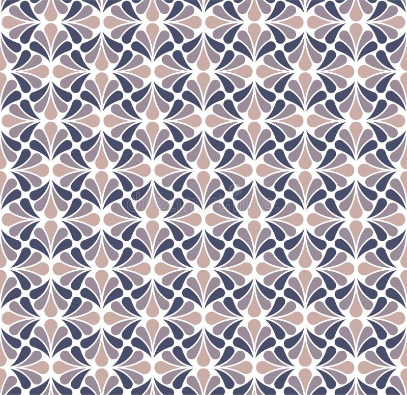 Vektor-Blumendamast-nahtloses Muster Eleganter Hintergrund nouveau der abstrakten Kunst Klassische Blumenmotivbeschaffenheit lizenzfreie abbildung